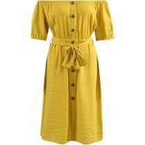 Mustard Yellow Off Shoulder Button Up Front Tie Waist Midi Dress
