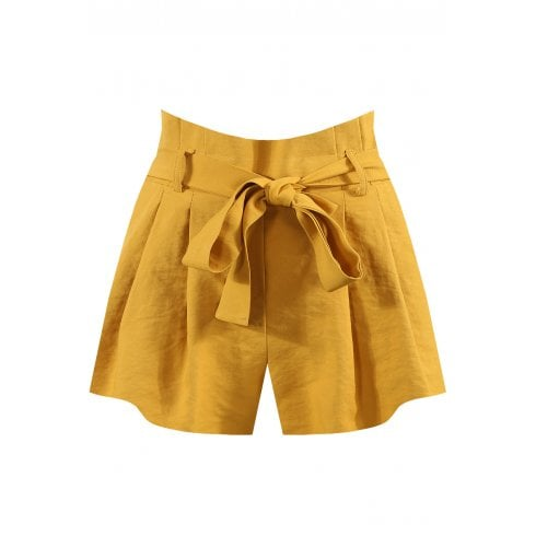 Mustard Yellow Pleated Attached Waist Belt Shorts