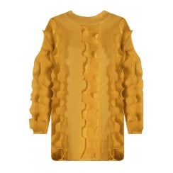 Mustard Yellow Ruffle Trim Long Sleeve Fitted Cuff Knitted Jumper