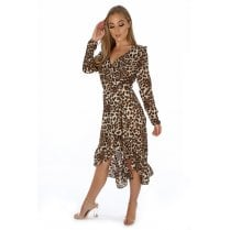 Natural Leopard Print Wrap Long Crossover Frill Hem Dress