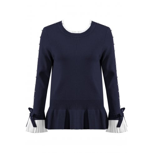 Navy Blue Jumper With Diamante Sleeve And Shirt Cuff And Neckline