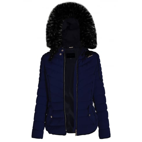 Navy Blue Layered Quilted Puffer Jacket With Black Faux Fur Trim Hood
