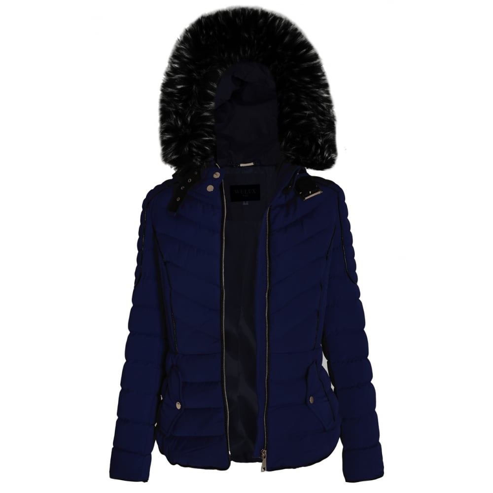 94991dbd104b Navy Blue Layered Quilted Puffer Jacket With Black Faux Fur Trim Hood