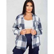 Navy Grey And White Checked Button Up Oversized Shirt Jacket Shacket