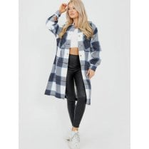 Navy Grey And White Checked Button Up Side Split Long Shirt Jacket Shacket