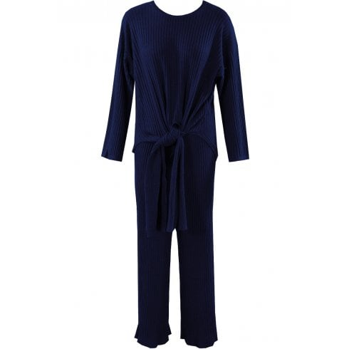 Navy Knitted Ribbed Top With Tie Flaps And Trouser 2 Piece