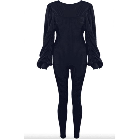 Navy Ruched Sleeve Knitted Loungewear Set