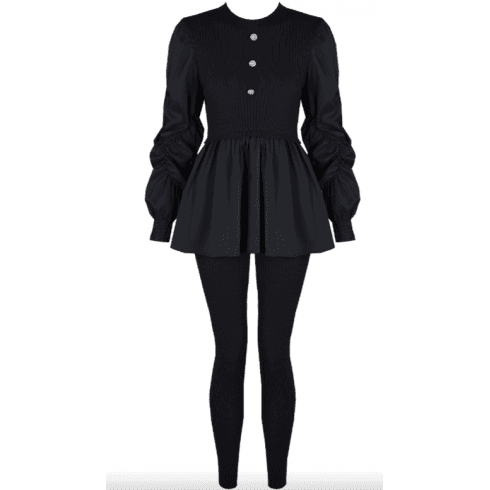Navy Ruched Sleeve Knitted Peplum Top & Legging Set