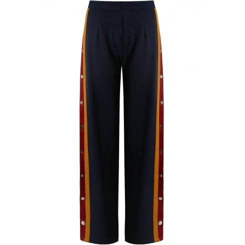Navy Wide Leg Side Popper with Mustard and Wine Panel Stripe Trousers