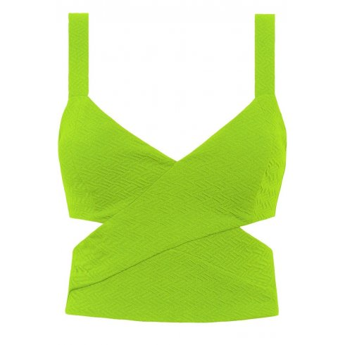 New Texured Cut Out Neon Lime Green Crop Top