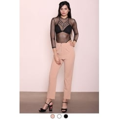 Nude High Waist Zip Up front Trousers