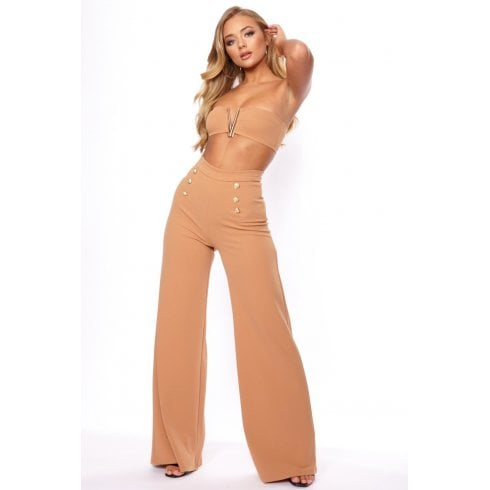 Nude Long High Waist Wide Long Gold Button Trousers