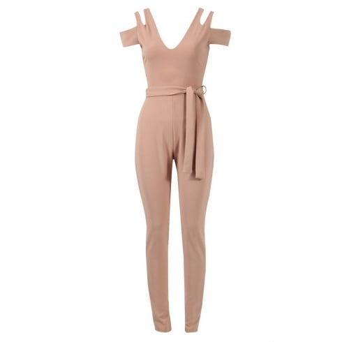 Nude Open Shoulder Waist Belt Fitted Jumpsuit