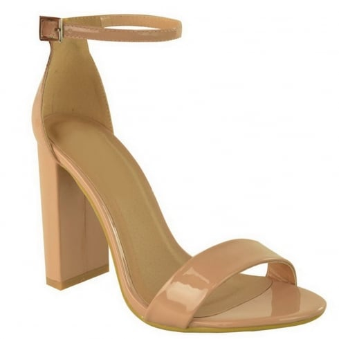 Nude Patent PU Leather Barley There Block High Heel