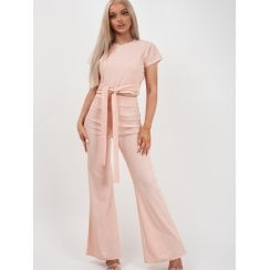 Nude Pink Short Sleeve Crop Top Waist Belt And Wide Leg Trousers Ribbed 2PC Loungesuit Set