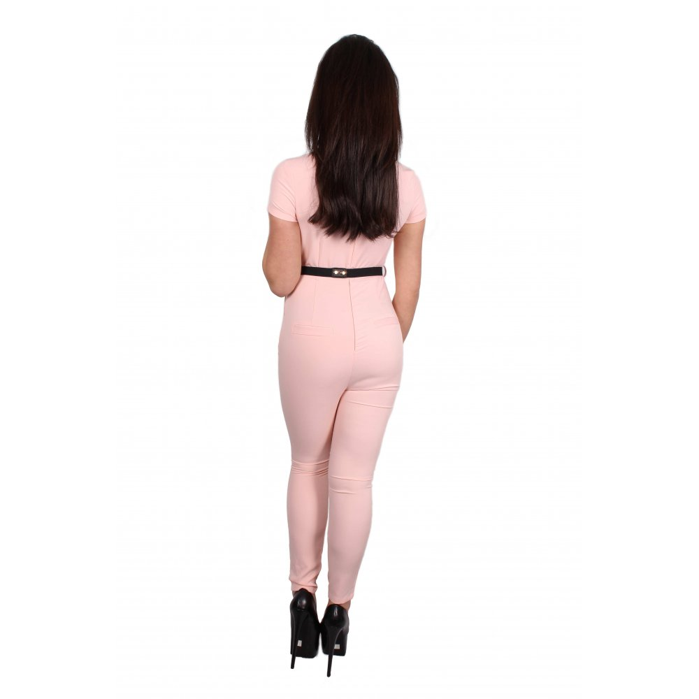 a1701cbe1585 Nyla Baby Pink Cap Sleeve Jumpsuit With Gold Belt - Parisia Fashion