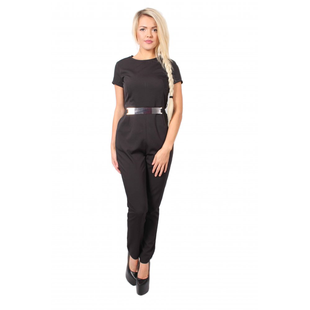 e7b5098ad05b Nyla Black Short Sleeve Jumpsuit With Gold Belt - Parisia Fashion