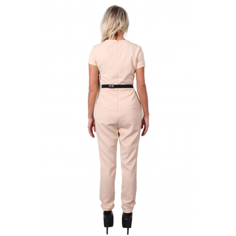 5ff6ee8375df ... Nyla Nude Cap Sleeve Jumpsuit With Gold Belt