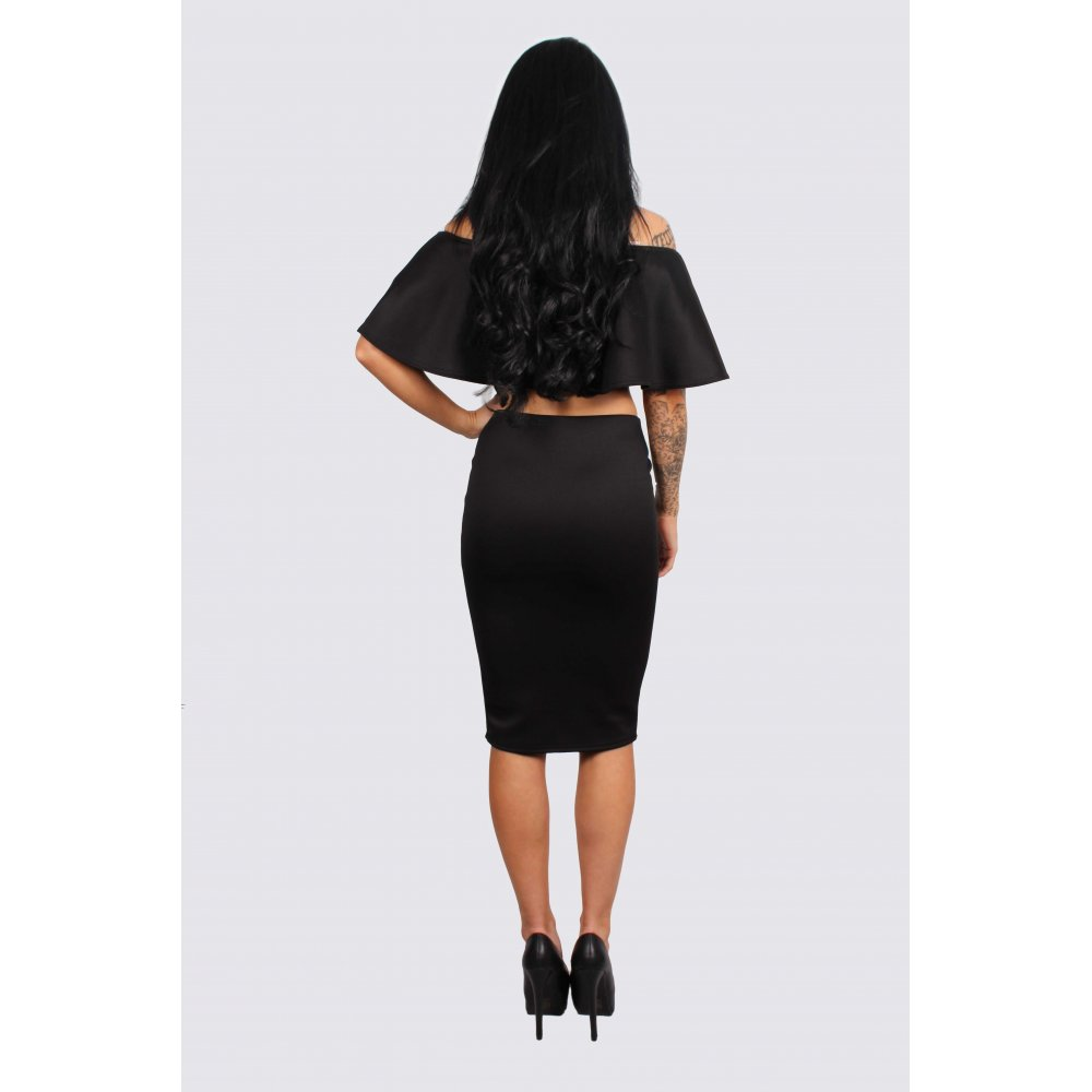 olivia black frill crop top amp midi pencil skirt set