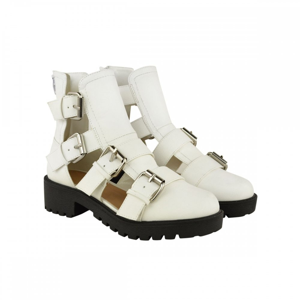 3c813f76079 Olivia White Cut Out Gladiator Sandals