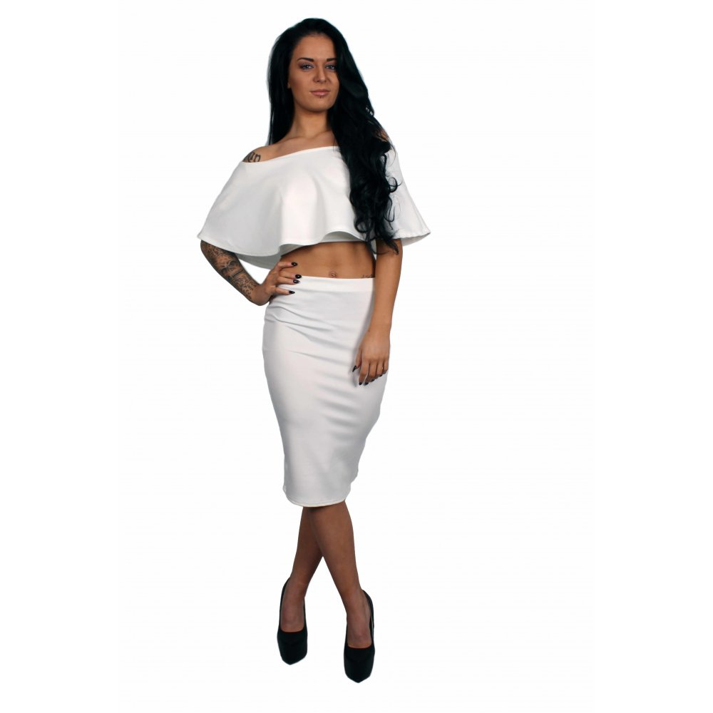 olivia white frill crop top amp midi pencil skirt set