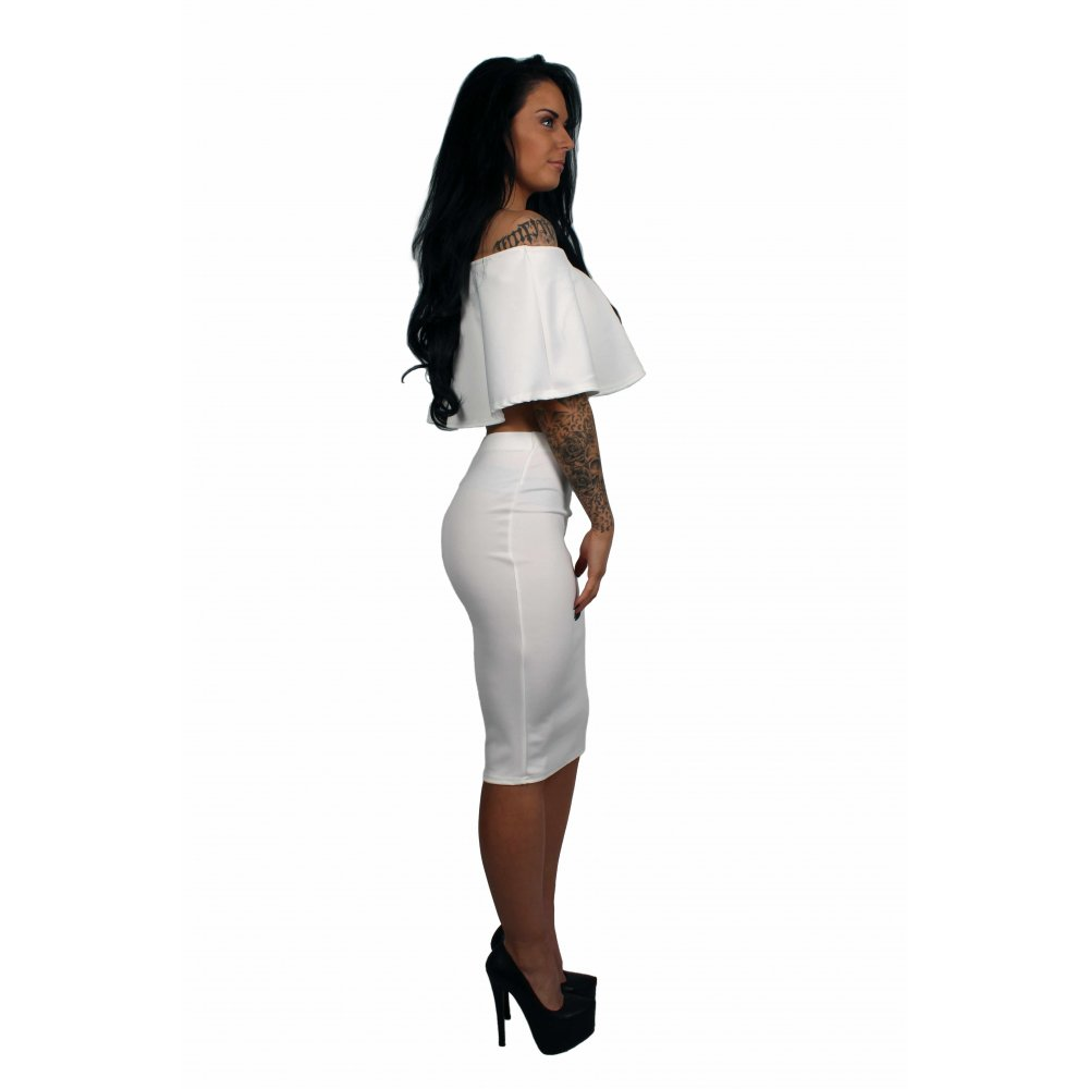 f91d112b707 Olivia White Frill Crop Top & Midi Pencil Skirt Set - Parisia Fashion