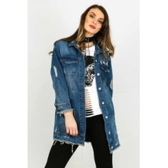 Oversized Blue Wash Distressed Denim Jacket