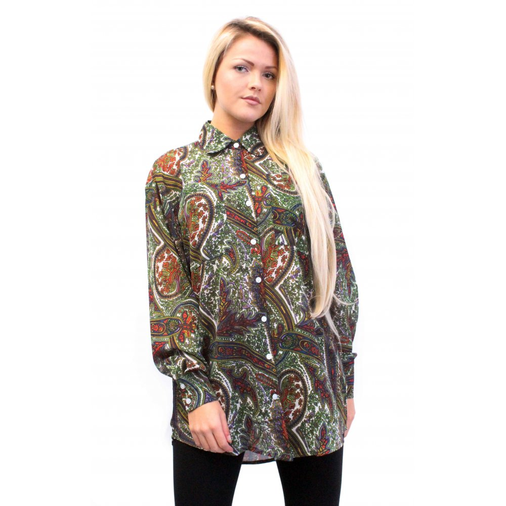 7ad11e9b6437d Paisley Oversized Chiffon Blouse From Parisia