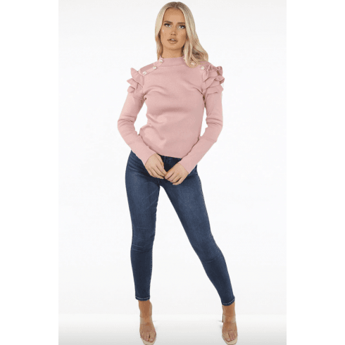 Pink Button Frill Sleeve Ribbed Jumper