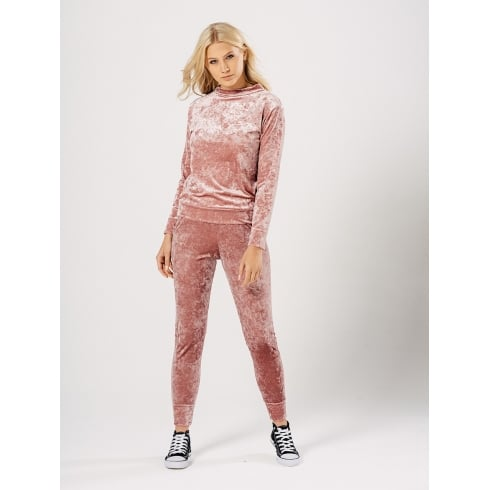 Pink Faux Velvet Suede Top And Jogger Tracksuit Lounge Suit