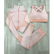 Pink/Nude 3pc Crop Top Crop Jacket Leggings Gym Set Co-ord