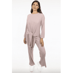 Pink Ribbed Knit Tie Front Jumper & Trouser set