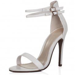 Rachel White Snake Skin Cut Out Heels