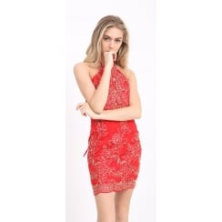 Red And Gold Floral Lace Open Back Tie Back Bodycon Dress