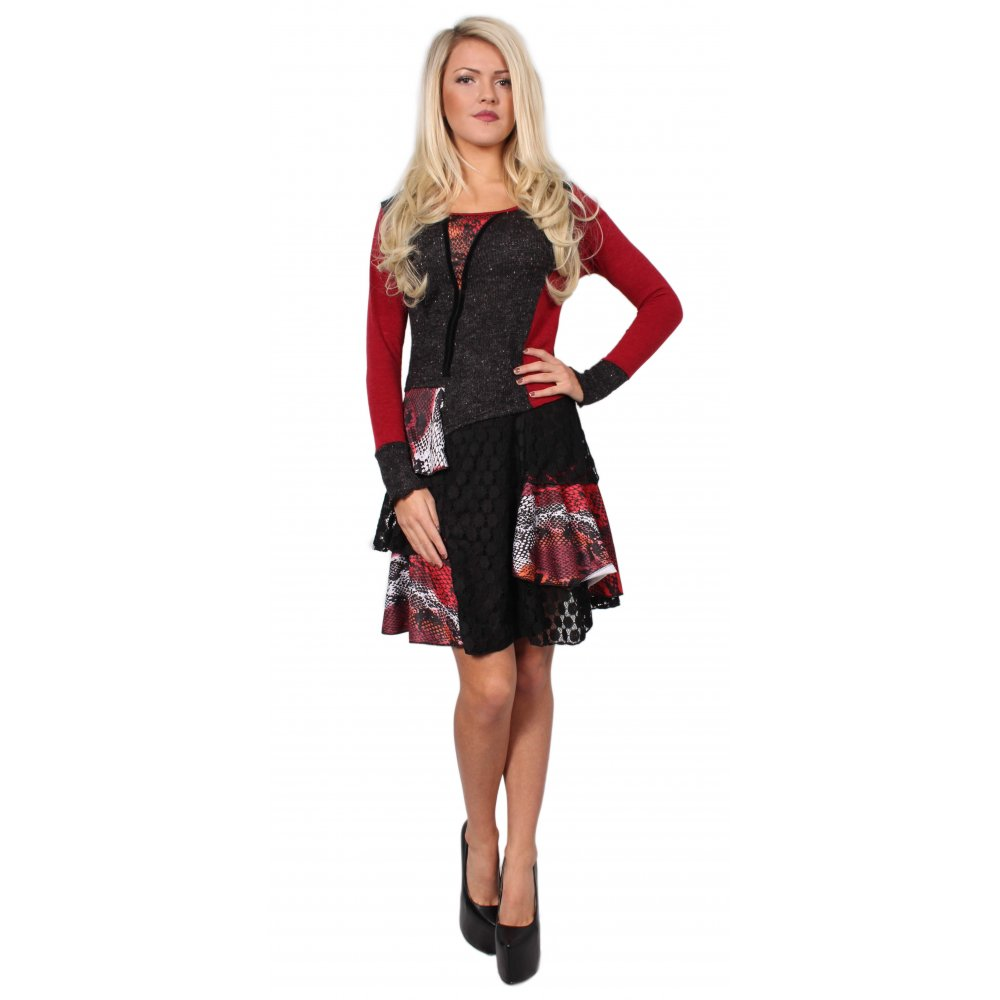 Red And Grey Contrast Dress From Parisia