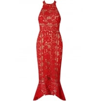 Red And Nude Contrast Crochet Midi Bodycon Fishtail Dress