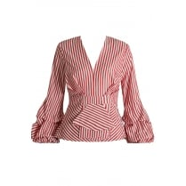 Red And White Low Plunge Cross Over Pleated Top