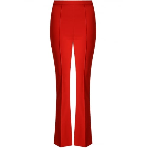 Red Back Pocketed Palazzo Pleated Long Trousers