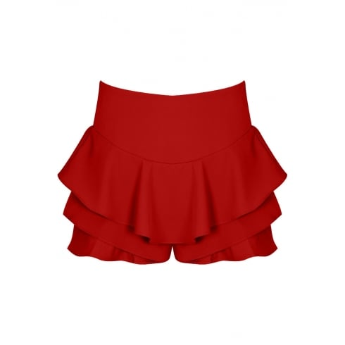 Red Black Frilled Skirt Look Shorts Skort