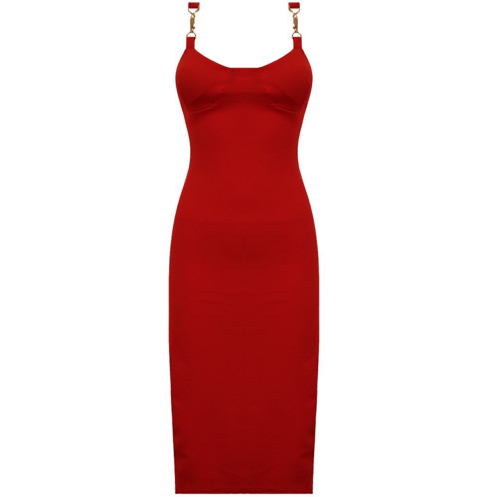Red bodycon dress with gold trim straps for Red with gold