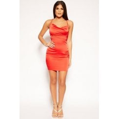 Red Cowl Neckline Bodycon Open Back Satin Mini Dress