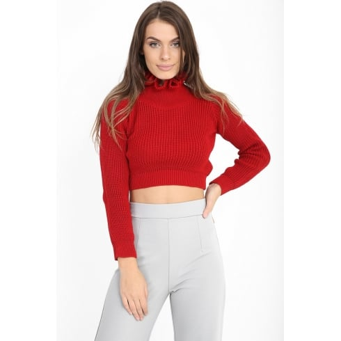 Red Cropped Frill Neck Knitted Jumper