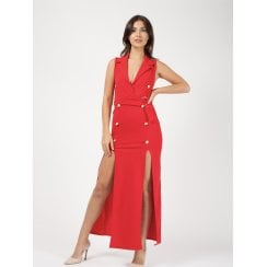 Red Double Front Slit Gold Button Waist Belt Dress