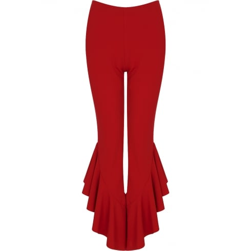 Red Draped Frill Hem Cigarette Leg Trousers