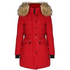 Red Faux Fur Hood Long Zip Up Padded Puffer Coat