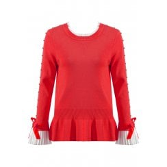 Red Jumper With Diamante Sleeve And Shirt Cuff And Neckline