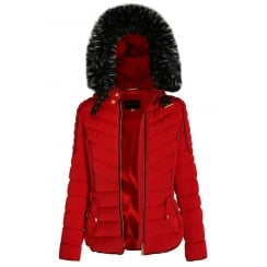 Red Layered Quilted Puffer Jacket With Black Faux Fur Trim Hood