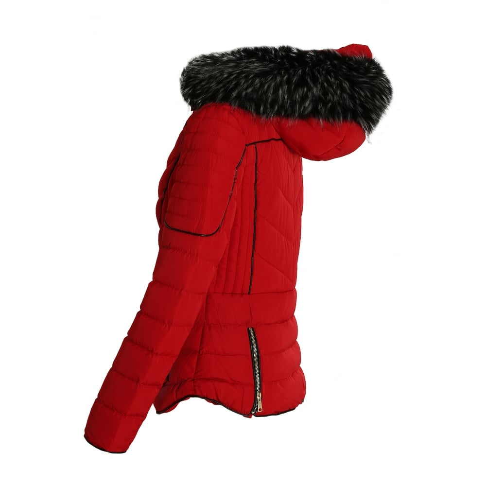 bb29f8e8e Red Layered Quilted Puffer Jacket With Black Faux Fur Trim Hood