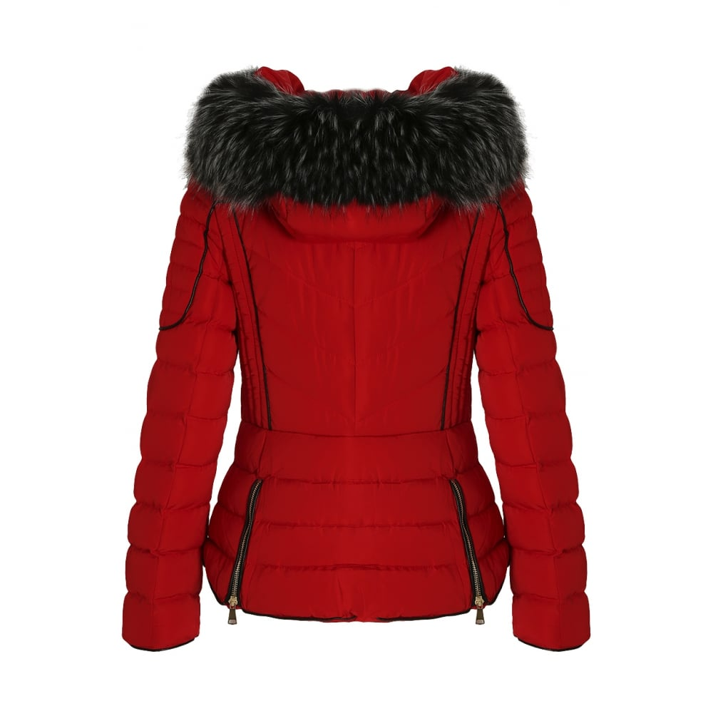 9b6f974e3 Red Layered Quilted Puffer Jacket With Black Faux Fur Trim Hood