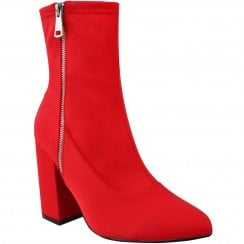 Red Lycra Pointed High Block Heel Ankle BootsWith Fake Silver Zip